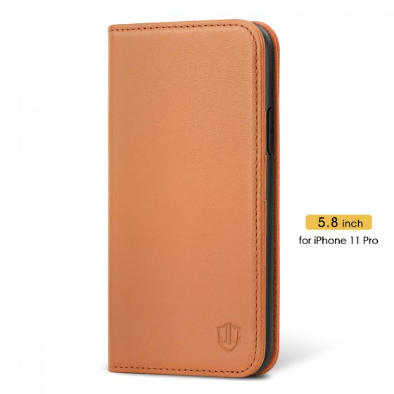 SHIELDON iPhone 11 Pro Wallet Case - iPhone 11 Pro Folio Case with Auto Sleep/Wake Function - Brown