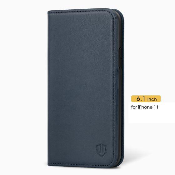 SHIELDON iPhone 11 Wallet Case, Genuine Leather, RFID Blocking, Magnetic Closure - Blue
