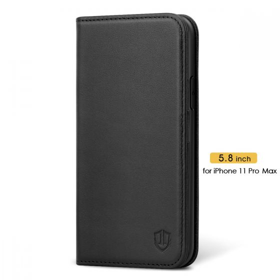 SHIELDON iPhone 11 Pro Max Genuine Leather Wallet Case - iPhone 11 Pro Max Flip Case - Black