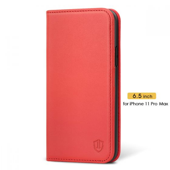 SHIELDON iPhone 11 Pro Max Wallet Case with Magnetic Closure - iPhone 11 Pro Max Leather Cover with Auto Sleep/Wake for Women - Red
