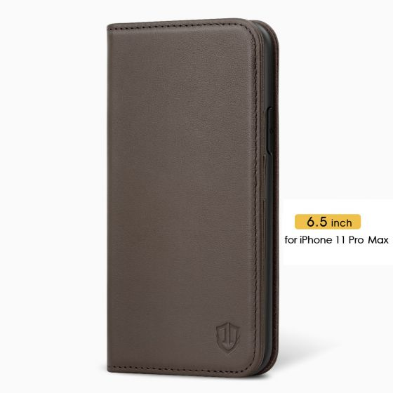 SHIELDON iPhone 11 Pro Max Protective Case - iPhone 11 Pro Max Wallet Case Slim Thin - Coffee