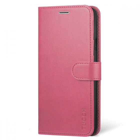 TUCCH iPhone XR Wallet Case - iPhone 10R Leather Cover, Stand, Flip Style - Hot Pink