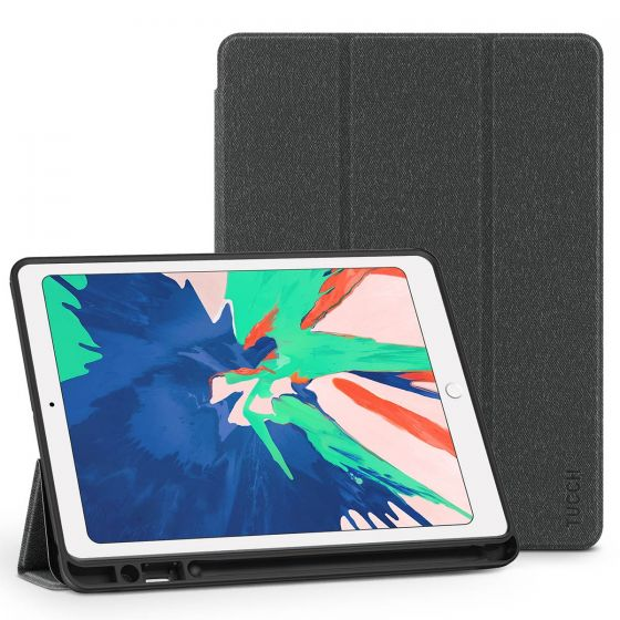 TUCCH iPad Air 3 10.5-inch 2019 Leather Case Cover with Auto Sleep/Wake, Trifold Stand, Pencil Holder - Cloth Texture Black