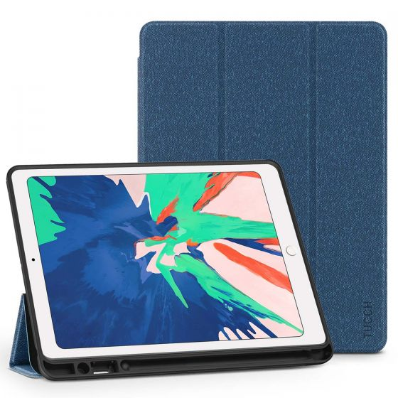 TUCCH iPad Air 3 10.5-inch 2019 Leather Case Cover  with Auto Sleep/Wake, Trifold Stand, Pencil Holder - Cloth Texture Yale Blue