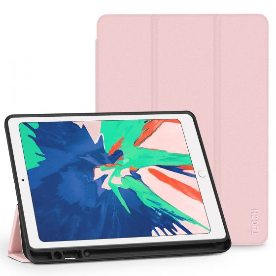 TUCCH iPad Air 3 10.5-inch 2019 Leather Case Cover with Auto Sleep/Wake, Trifold Stand, Pencil Holder Grinding Texture - Pink