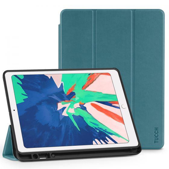 TUCCH iPad Air 3 10.5-inch 2019 Cover Protect Leather Case with Auto Sleep/Wake, Trifold Stand, Pencil Holder - Gray Blue