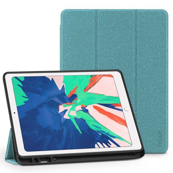 TUCCH  iPad Air 3 10.5-inch 2019 Leather Case with Auto Sleep/Wake, Kickstand, Pencil Holder Cloth Texture - Blue