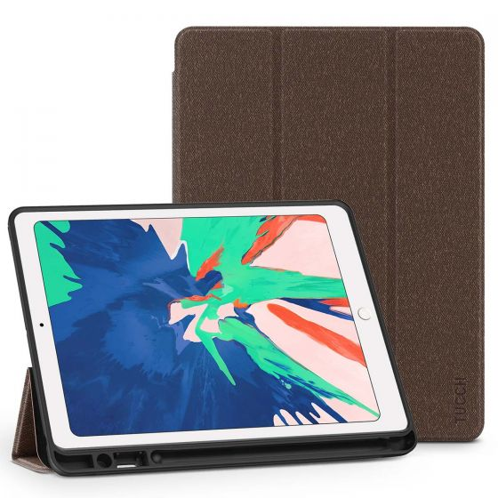 TUCCH iPad Air 3 10.5-inch 2019 Kickstand Case with Auto Sleep/Wake, Trifold Stand, Pencil Holder Cloth Texture - Brown