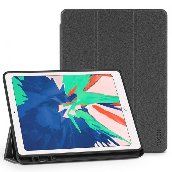 TUCCH iPad Air 3 10.5-inch 2019 Flip Cover with Auto Sleep/Wake, Trifold Stand, Pencil Holder Line texture - Black