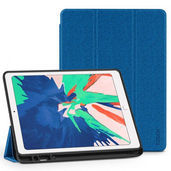 TUCCH iPad Air 3 10.5-inch 2019 Flip Leather Cover Case with Auto Sleep/Wake, Trifold Stand, Pencil Holder Line texture - Dark Blue