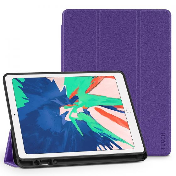 TUCCH iPad Air 3 10.5-inch 2019 Folio Leather Cover Case with Auto Sleep/Wake, Trifold Stand, Pencil Holder Line texture - Purple