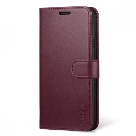 TUCCH iPhone XR Wallet Case - iPhone 10R Leather Case Cover with Stand, Flip Style, Magnetic Closure, RFID Blocking, Support Wireless Charging - Wine Red