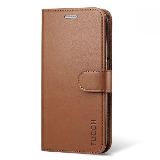 TUCCH Galaxy S6 Edge Case, Premium PU Leather Flip Folio Case