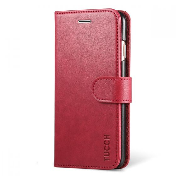 TUCCH iPhone 8 Leather Case, iPhone 7 Case, Premium PU Leather Flip Folio Wallet Case with Card Slot, Cash Clip, Stand Holder and Magnetic Closure