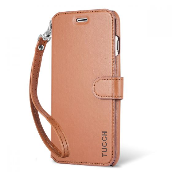TUCCH iPhone 6S / 6 Plus Leather Wallet Phone Case, Wrist Strap