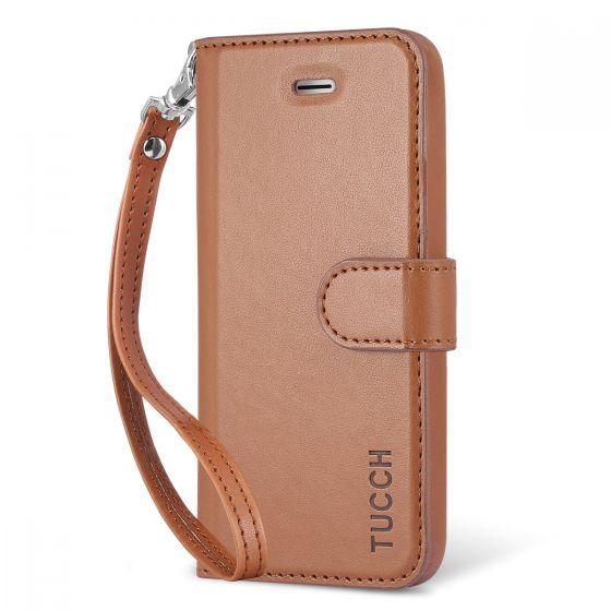 TUCCH iPhone 5/5S/SE Case, Premium Leather Wallet Case, Wrist Strap, Magnetic Clasp