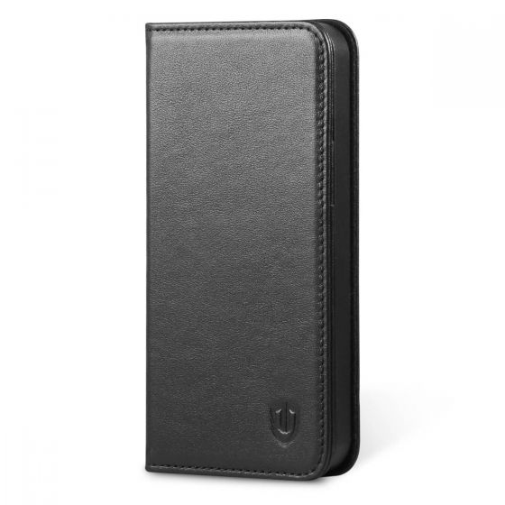 SHIELDON iPhone 5S Flip Case - Genuine Leather Wallet Cover, Compatible with iPhone 5 5S SE