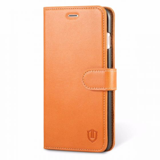 SHIELDON iPhone 7 Plus Flip Wallet Case - Genuine Leather Folio Book Case, Magnetic Closure