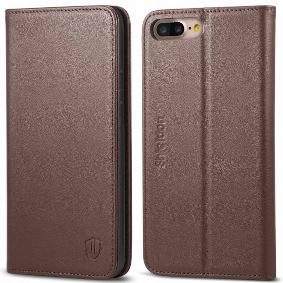 SHIELDON iPhone 8 Plus Wallet Case, iPhone 7 Leather Case - Genuine Leather Cover, Magnetic Closure, Kickstand