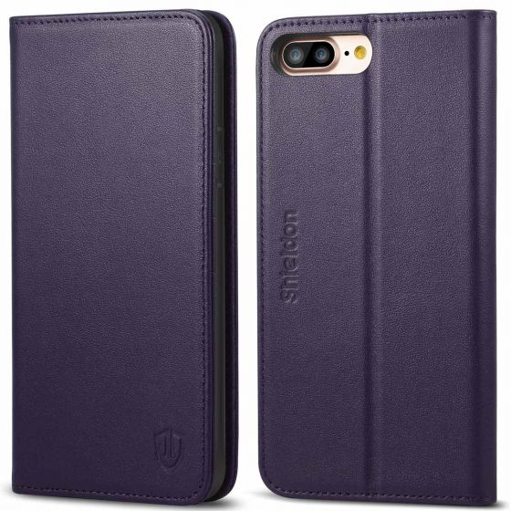 SHIELDON iPhone 8 Plus Wallet Case - Purple color Genuine Leather Cover, Magnet Closure, Kickstand Function, Flip Cover, Folio Style