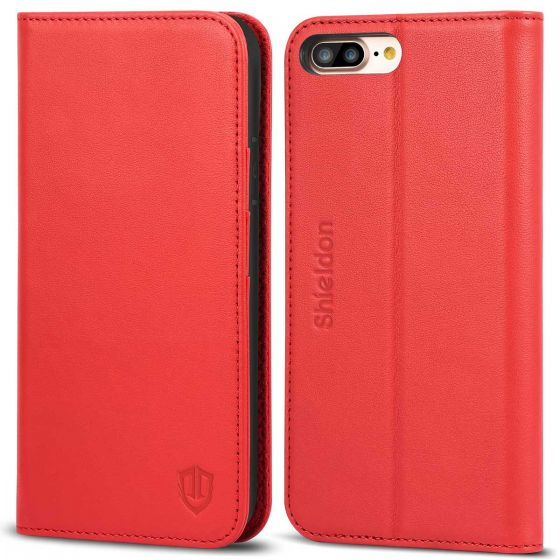 pretty nice 536a0 b25f7 SHIELDON iPhone 8 Plus Wallet Case, iPhone 7 Plus Folio Case with  Kickstand, Magnetic Closure