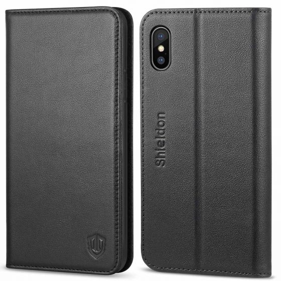 SHIELDON iPhone X Genuine Leather Wallet Flip Cover, iPhone 10 Case with Magnetic Closure, Kickstand Function