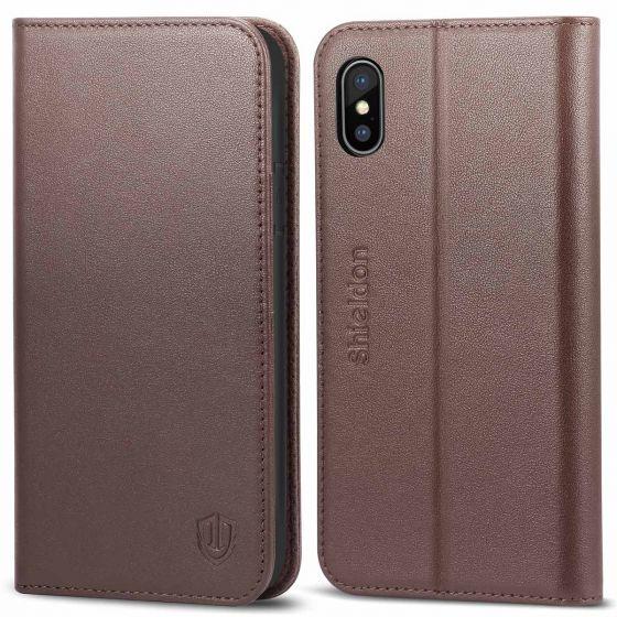 SHIELDON iPhone X Genuine Leather Flip Cover, Kickstand, Magnetic Clourse
