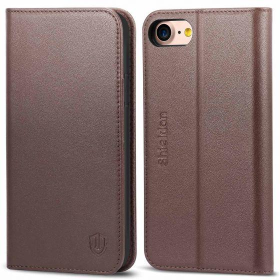 SHIELDON iPhone 8 Flip Cover, iPhone 7 Flip Cover, Genuine Leather Case, Kickstand