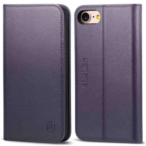 SHIELDON iPhone 7 Kickstand Case, Genuine Leather, Handcrafted, Wallet Function