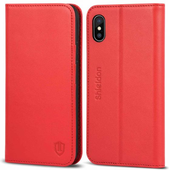 SHIELDON iPhone X Genuine Leather Wallet Case, Magnetic Closure, Flip Cover, Kickstand