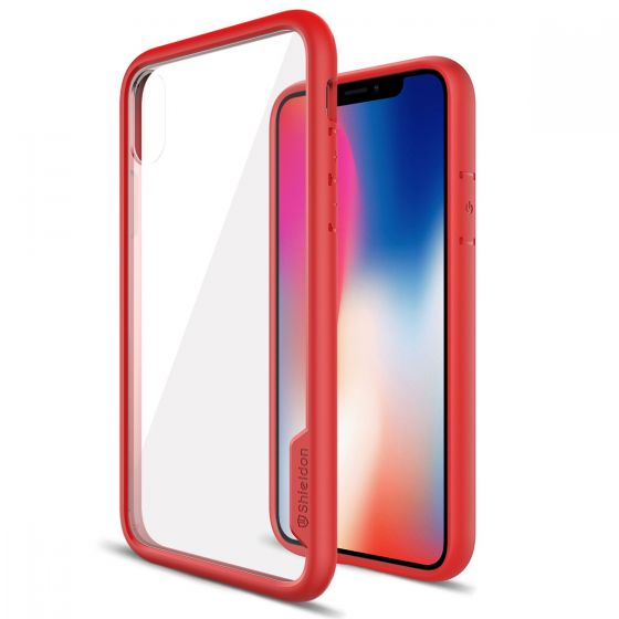 SHIELDON iPhone XS / iPhone X Clear Case -  Red iPhone X / iPhone 10 TPU bumper with Transparent Back Cover - Glacier Series