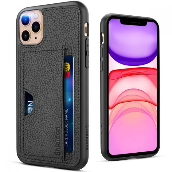 SHIELDON iPhone 11 Pro Max Case Wallet, Genuine Leather Cover + TPU Shockproof Wallet Case Support Wireless Charging with Credit Card Holder Compatible with iPhone 11 Pro Max (6.5-inch, 2019 Release)