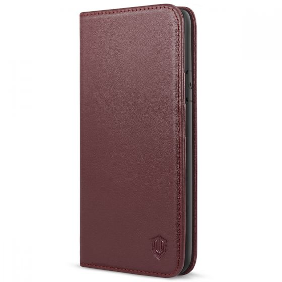 SHIELDON iPhone 7/8 Leather Wallet Case with Magnetic Closure - Wine Red