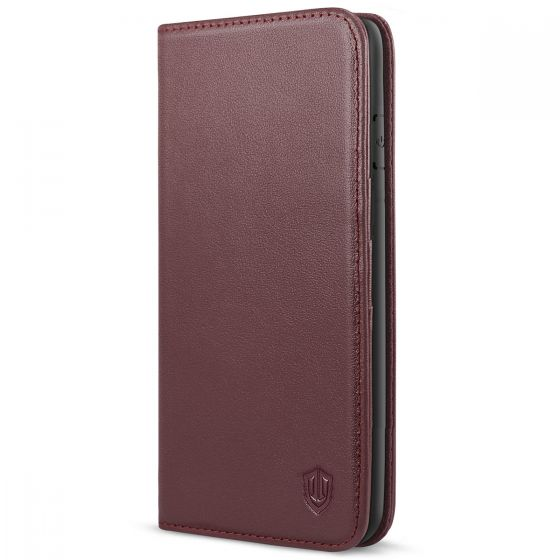 SHIELDON iPhone 7/8 Plus Leather Wallet Case with Magnetic Closure - Wine Red