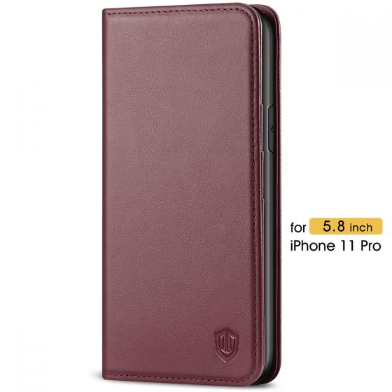 SHIELDON iPhone 11 Pro Case with Card Holder - iPhone 11 Pro Wallet Case with Auto Sleep/Wake Function for Women - Wine Red