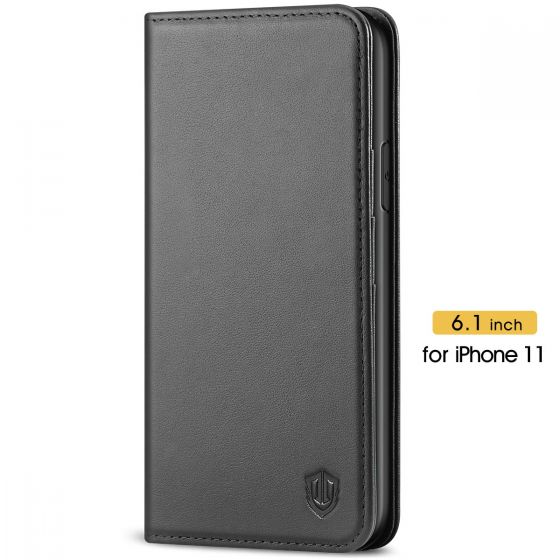 SHIELDON iPhone 11 Genuine Leather Wallet Case - iPhone 11 Flip Case - Black