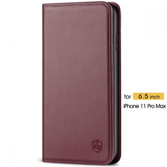 SHIELDON iPhone 11 Pro Max Case with Card Holder - iPhone 11 Pro Max Wallet Case with Auto Sleep/Wake for Women - Wine Red
