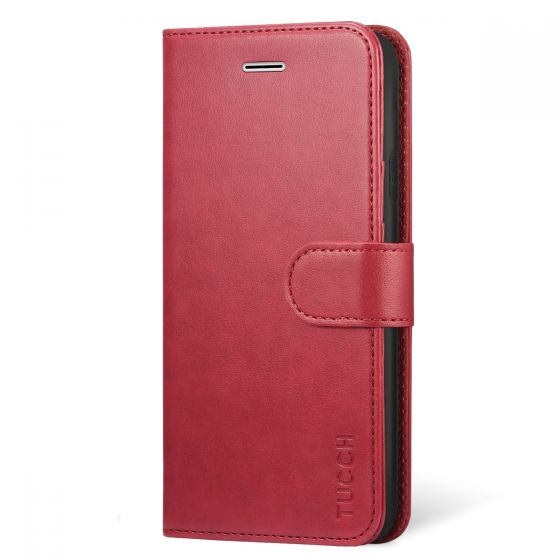 bbc846946bb TUCCH iPhone XR Wallet Case - Leather Cover, Stand, Flip Style - Red