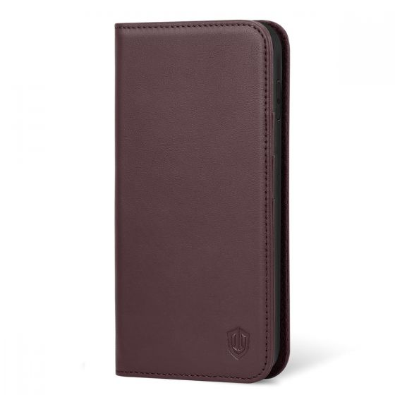 SHIELDON iPhone XR Leather Case, iPhone 10R Genuine Leather Folio Wallet Magnetic Protective Case with Shock Absorbing, RFID Blocking, Card Holder, Kickstand - Wine Red