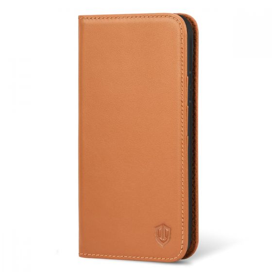 SHIELDON iPhone XS Wallet Case, Genuine Leather + TPU, Full Cover Protection, Auto Sleep/Wake Up, Kickstand - Brown