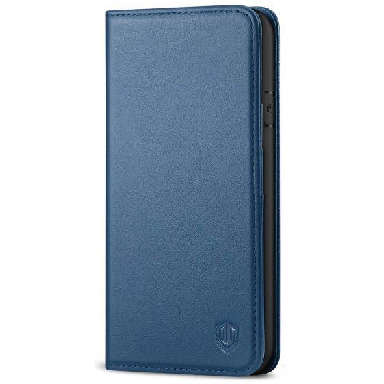 SHIELDON iPhone 8 Wallet Case - iPhone 7 Genuine Leather Kickstand Case - Royal Blue