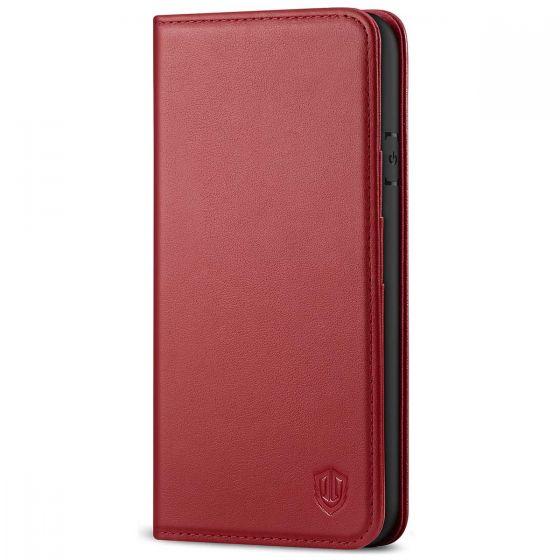 SHIELDON iPhone 8 Wallet Case - iPhone 7 Genuine Leather Kickstand Case - Dark Red