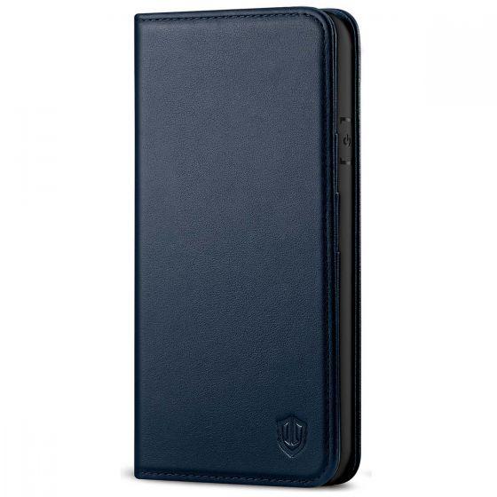 SHIELDON iPhone 8 Wallet Case - iPhone 7 Genuine Leather Kickstand Case - Navy Blue