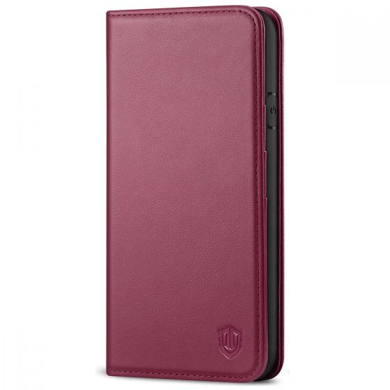 SHIELDON iPhone 8 Wallet Case - iPhone 7 Genuine Leather Kickstand Case - Red Violet