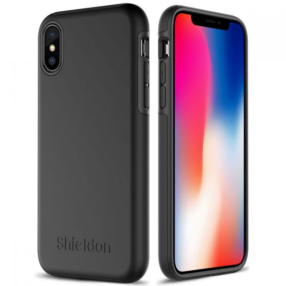 SHIELDON iPhone XS / iPhone X Case -  Black Case for Apple iPhone X / iPhone 10 - Plateau Series