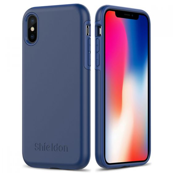 SHIELDON iPhone X Case - Middle blue Case for Apple iPhone X / iPhone 10 - Plateau Series