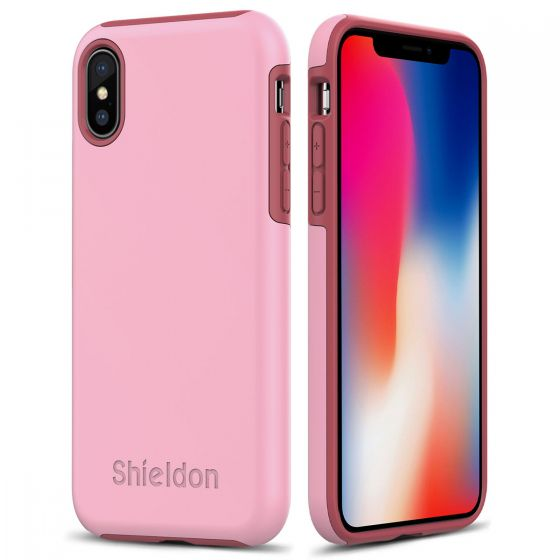 SHIELDON iPhone XS / iPhone X Case -  Pink color Case for Apple iPhone X / iPhone 10 - Plateau Series