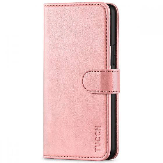 TUCCH iPhone 11 Pro Wallet Case with Strap, iPhone 11 Pro Stand Case with Card Holder - Rose Gold