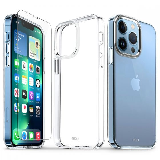 TUCCH iPhone 13 Pro Clear TPU Case Non-Yellowing, Transparent Thin Slim Scratchproof Shockproof TPU Case with Tempered Glass Screen Protector for iPhone 13 Pro 5G 6.1-Inch Crystal Clear