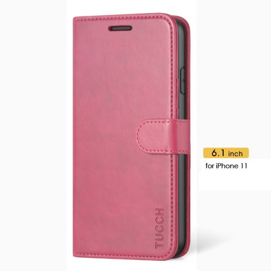 TUCCH iPhone 11 Wallet Case Protective, iPhone 11 Flip Cover Slim - Hot Pink